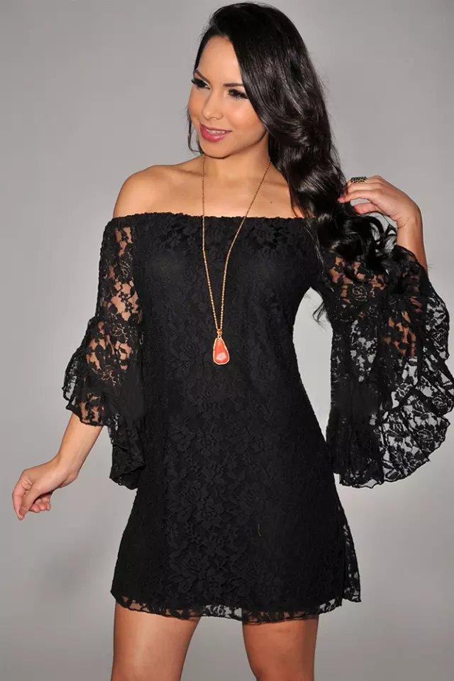 Shoulder Off Lace Sleeve Mini Dress