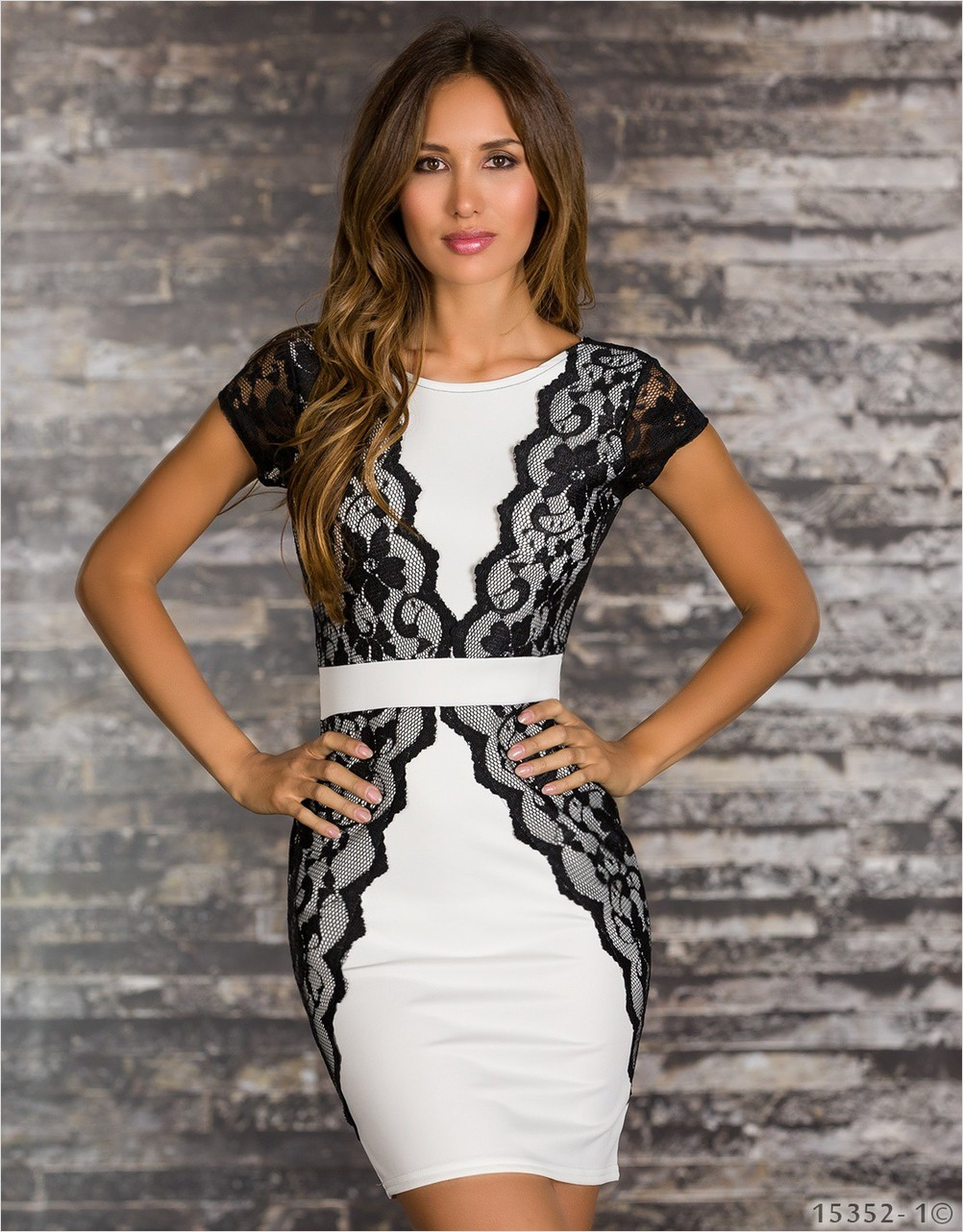 Ladies Backless White Dress with Lace and Belt