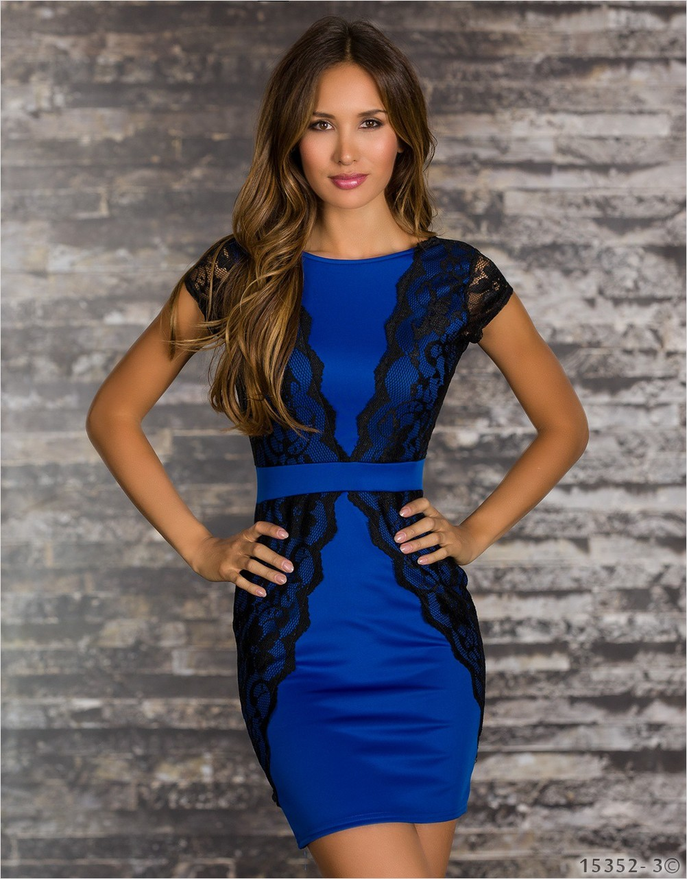 New Arrival Lace with Polyester Blue Backless Mini Dress