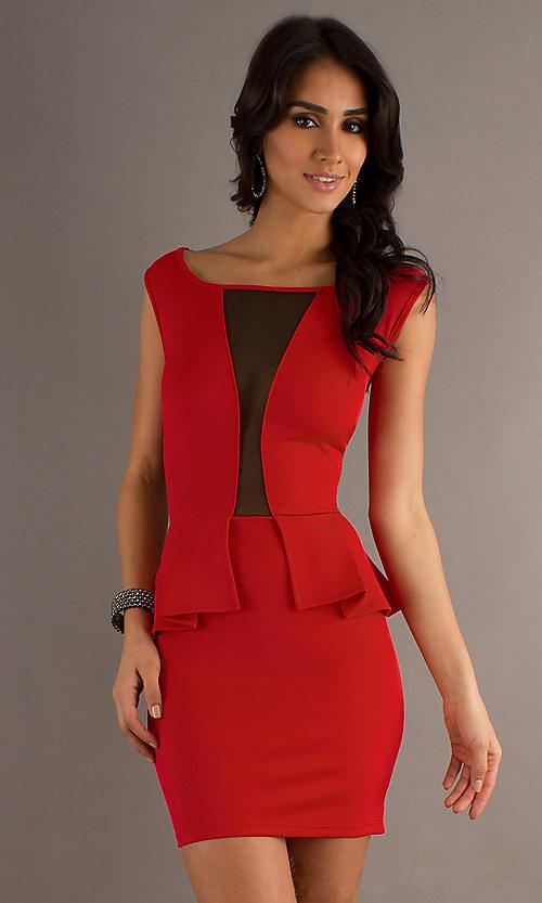 New Arrival ML17997 Hot Red Sexy Neckline One Piece Mini Dress