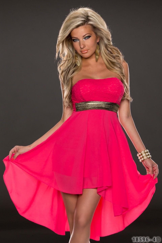 ML18069 Rose Sleeveless Long Back Short Front Summer Dress
