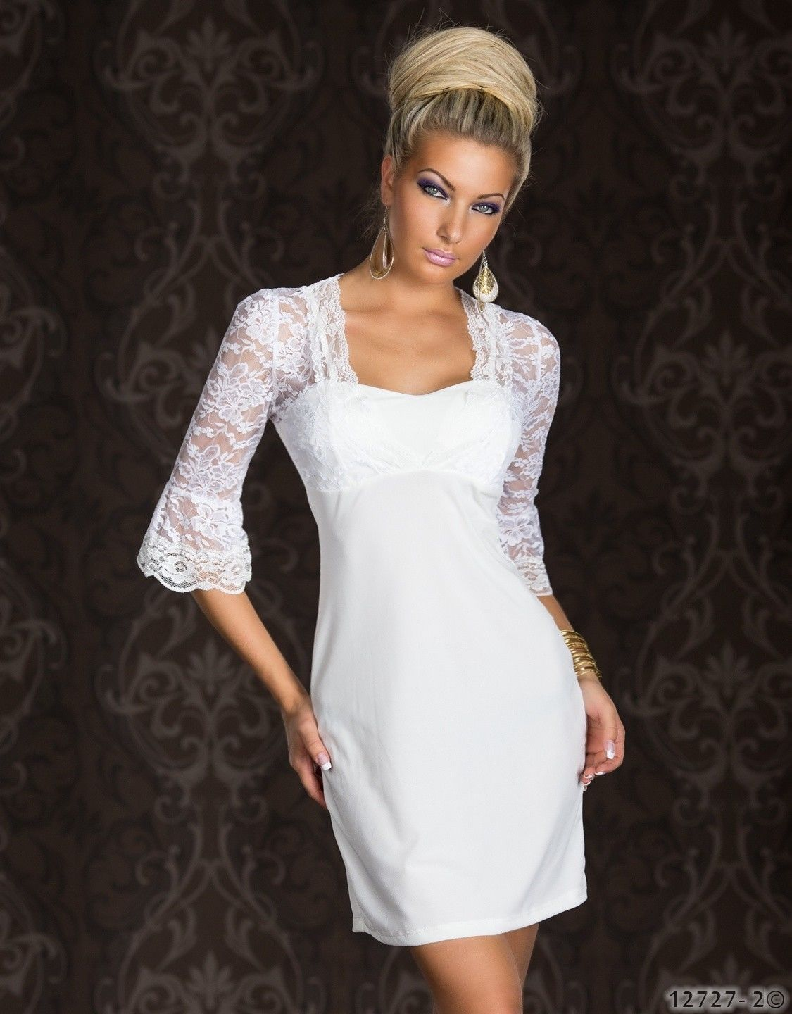 ML18075 White Lace Sleeve and Backline Dress