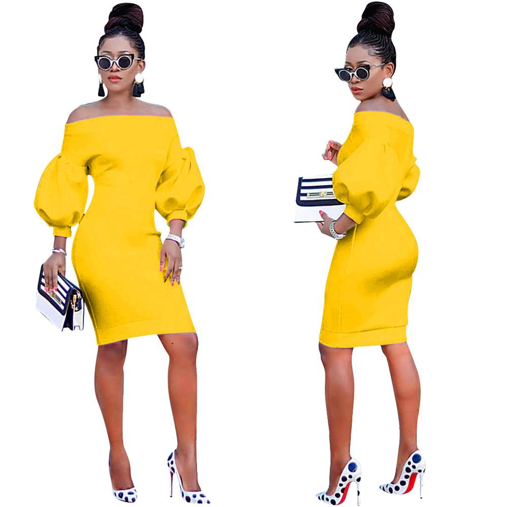 ML23371 Sexy Women O-neck Flare Sleeve Bodycon Party Dress
