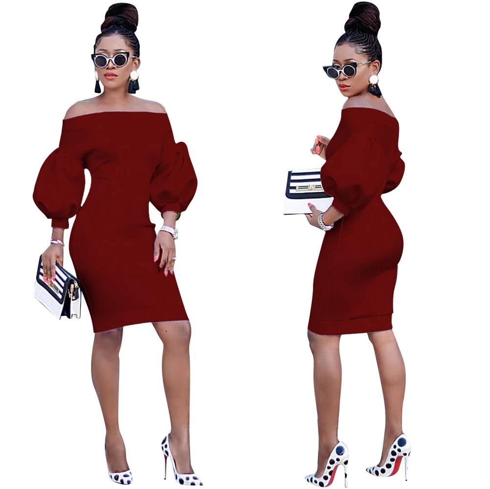 ML23372 Sexy Women O-neck Flare Sleeve Bodycon Party Dress