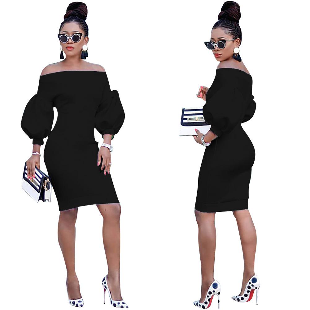 ML23375 Sexy Women O-neck Flare Sleeve Bodycon Party Dress