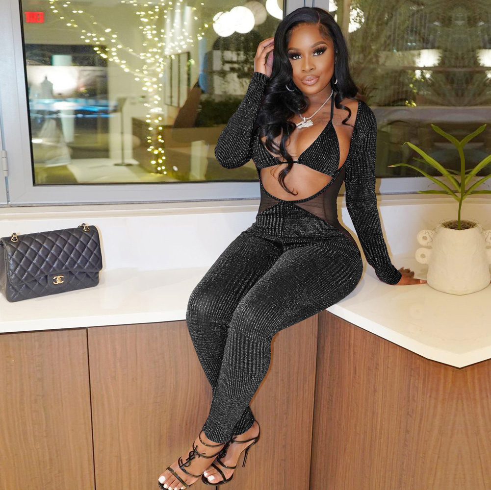 ML23401 Sexy Women Two Pieces Bodycon Club Jumpsuit Top+Jumpsuit