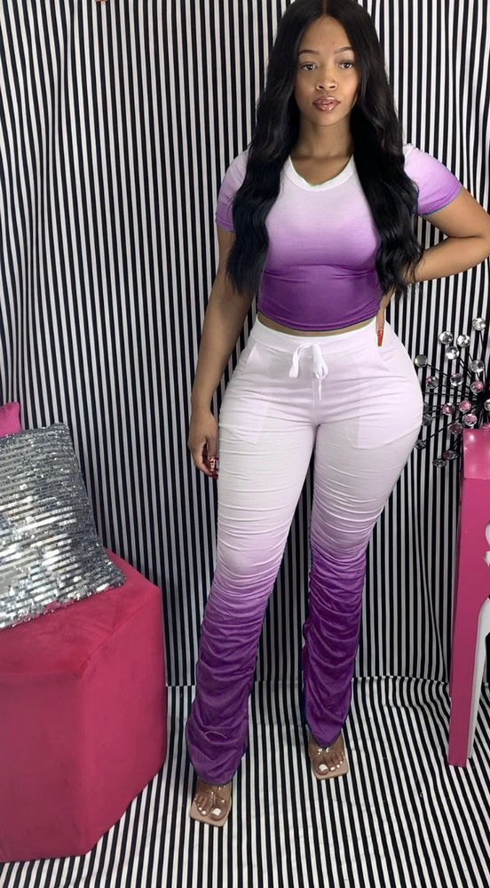 ML22460 Sexy Women O-neck Casual Tracksuit Sets Top+Ruched Pants