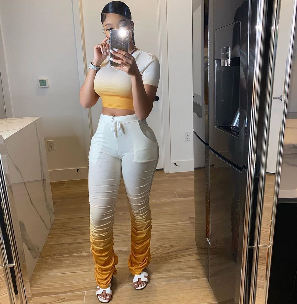 ML22459 Sexy Women O-neck Casual Tracksuit Sets Top+Ruched Pants