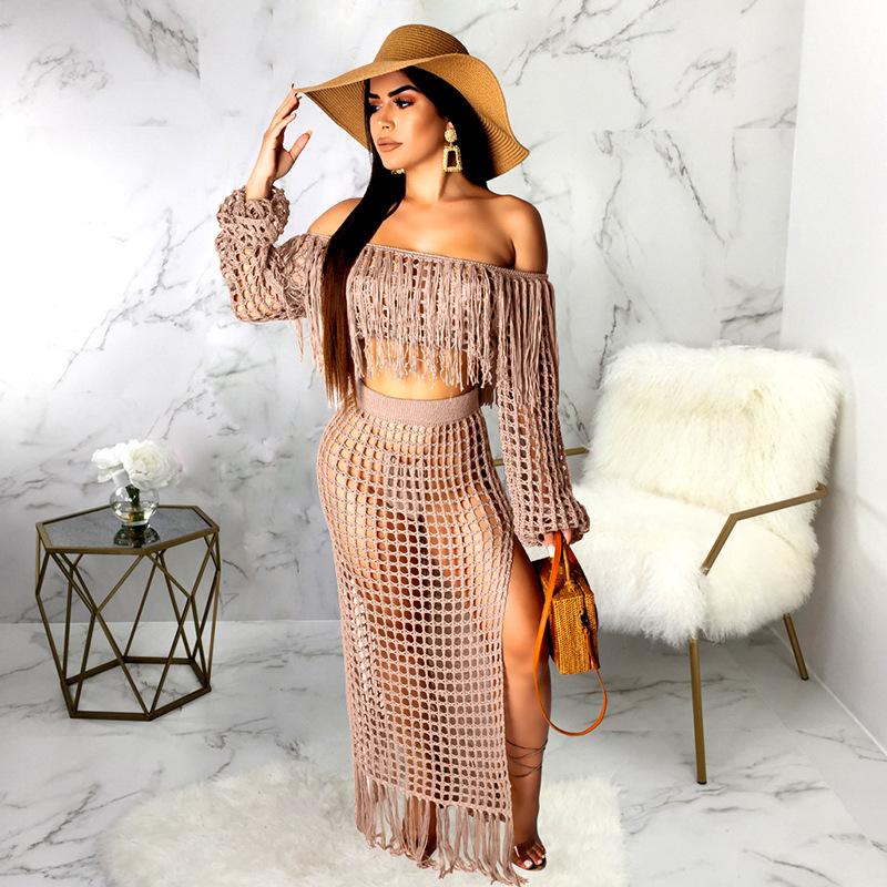 ML21790 Sexy Women Slash Neck Long Sleeve Elegant Tassel Beach Dress Sets
