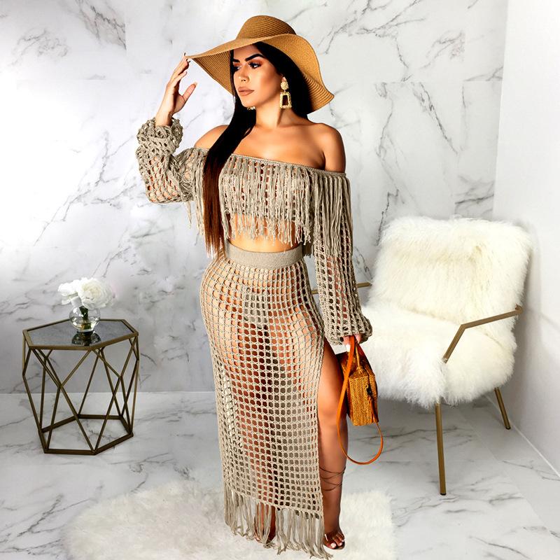 ML21792 Sexy Women Slash Neck Long Sleeve Elegant Tassel Beach Dress Sets