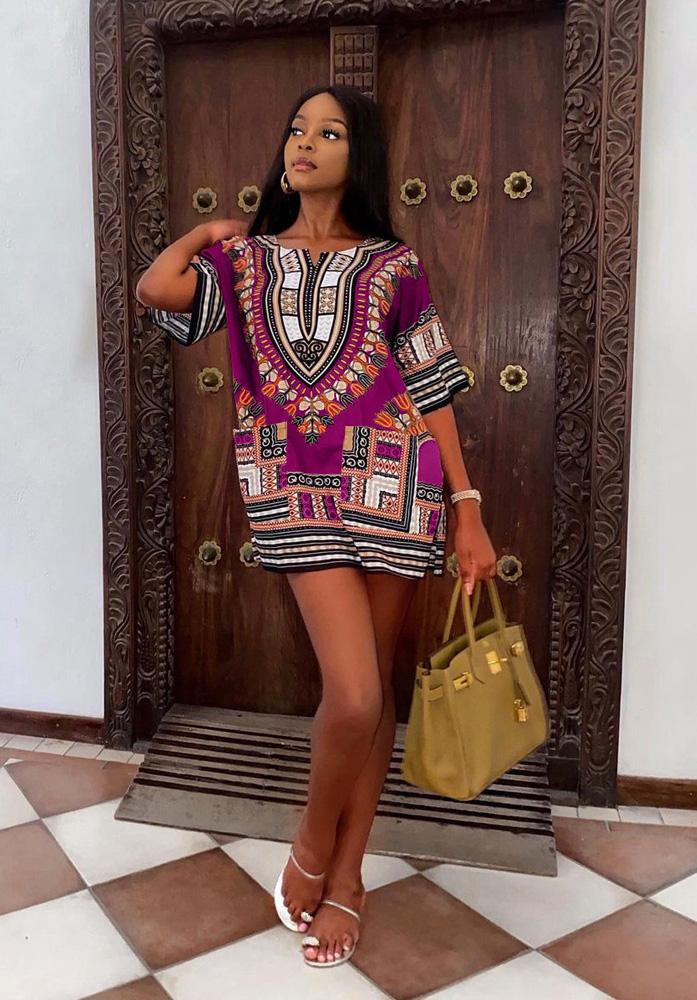 ML23194 Sexy Women Floral Print Elegant Summer Dress