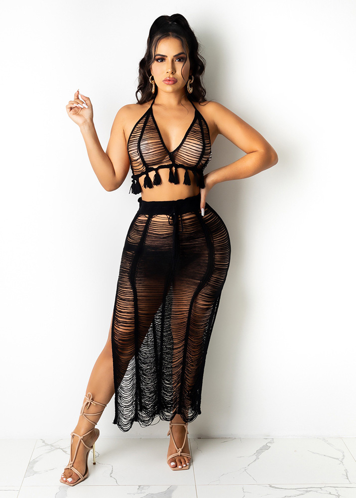 ML23203 Sexy Women Two Pieces Elegant Knitting Beach Dress Top+Skirt