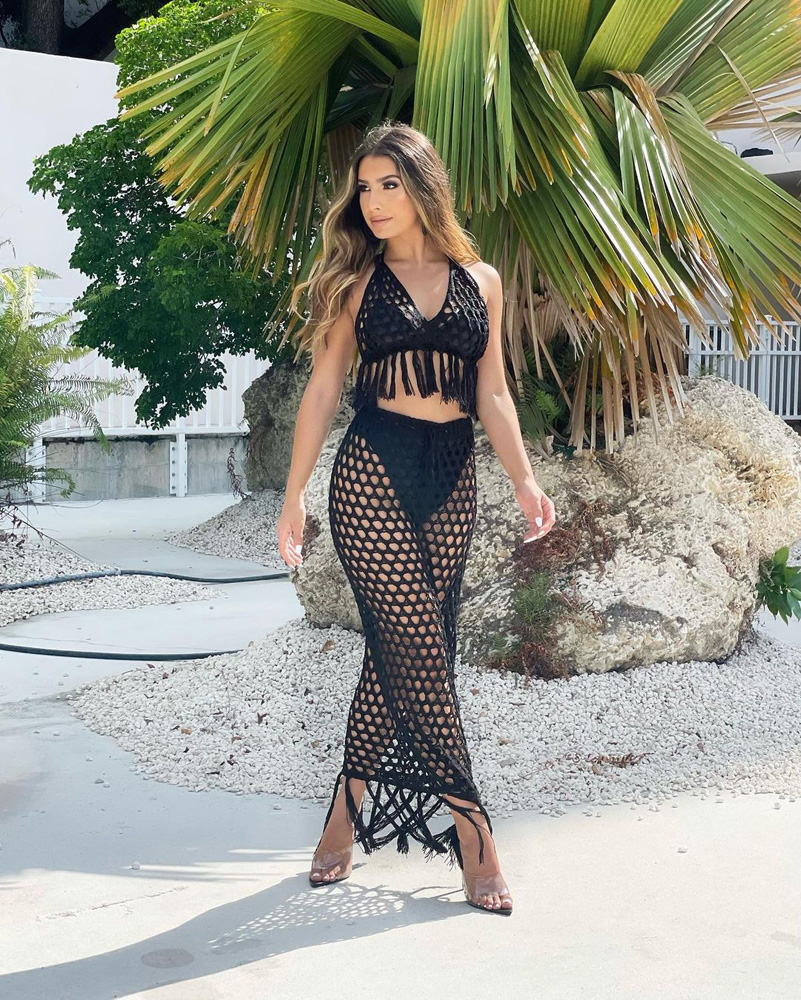 ML23300 Sexy Women Two Pieces Knitting Bodycon Summer Dress Top+Skirt